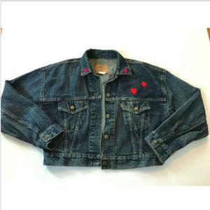 VTG 80s Levis 501 Cropped Denim Jacket Custom Sz M